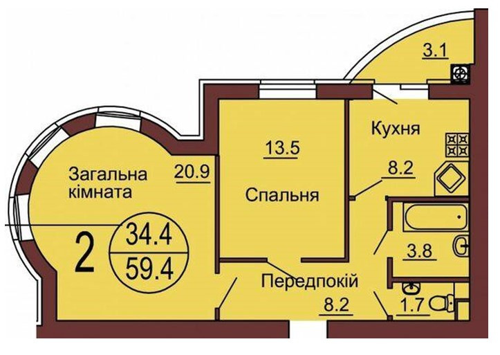 ЖК София клубный цена двухкомнатной квартиры